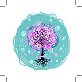 Abstract pink tree with roots for your design