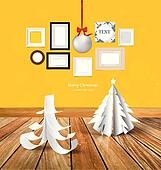 Merry Christmas greeting card with origami Christmas tree, Chris