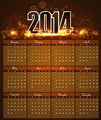 Year 2014 calendar bright colorful holiday vector Illustration