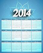 Calendar 2014 colorful creative design illustration vector