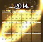 Simple 2014 colorful celebration calendar vector