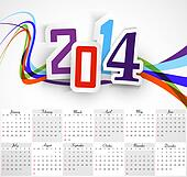 Beautiful Happy New Year 2014 calendar colorful wave vector