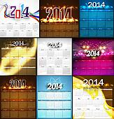 2014 Calendar bright colorful collection design illustration vector