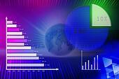 World globe and a 3D global financi