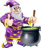 Wizard and cauldron