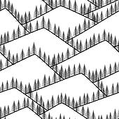 seamless abstract mountains with fir background