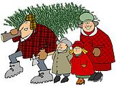 Family carrying a Christmas tree