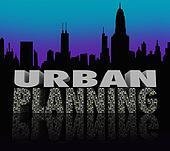 Urban Planning Night City Scape Skyline Words