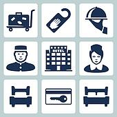 Vector hotel icons set: luggage cart, 'do not disturb' sign, dish, receptionist, five-star hotel, chambermaid, single bed, key card, double bed