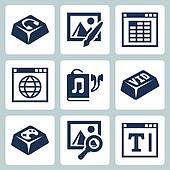 Vector isolated applications icons set: audio player, image editor, spreadsheet application, internet browser, audiobook, video player, games, image browser, text editor
