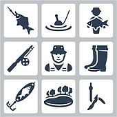 Vector fishing icons set: fish on a hook, float, big fish, fishing rod, fisherman, wading boots, spoon-bait, lake, worm on a hook