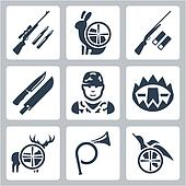 Vector hinting icons set: sniper rifle, hare, shotgun, hunting knife and sheath, hunter, trap, deer, hunting horn, duck