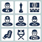 Vector cinema and filmmaking icons set: critic, award, movie theater, cameraman, director, script writer, ticket, director chair, moviegoer