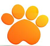 Paw print orange icon logo