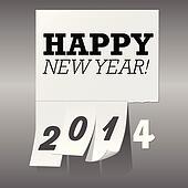 New Year 2014 Tear Off Paper Backgr