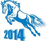 Vector prancing blue horse