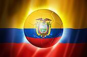 Soccer football ball with Ecuador flag