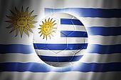 Soccer football ball with Uruguay flag