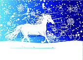 White horse sketch for your design. Symbol of 2014 year