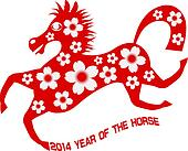 2014 Abstract Red Chinese Horse with Flower Illustration