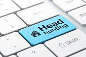 Business business concept: Home and Head Hunting on computer keyboard background