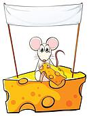 A rat sitting above the cheese with an empty banner above