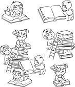 Children reading books