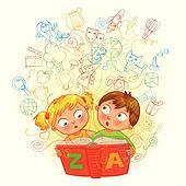 Boy and girl reading a magic book
