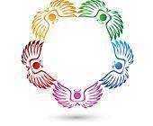 Angels teamwork logo vector