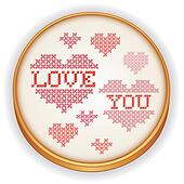 Love You Embroidery on Wood Hoop