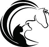 Horse cat and dog stylized logo