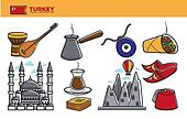 Turkey travel destination promotional poster with national symbols