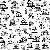 row of houses clipart black and white. raise the roof art houses seamless background for your design row of clipart black and white