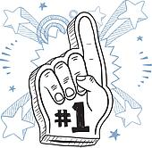 foam finger clipart. number one foam finger; finger excitement sketch clipart l