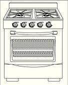 stove clipart black and white. vector illustration of a stove clipart black and white
